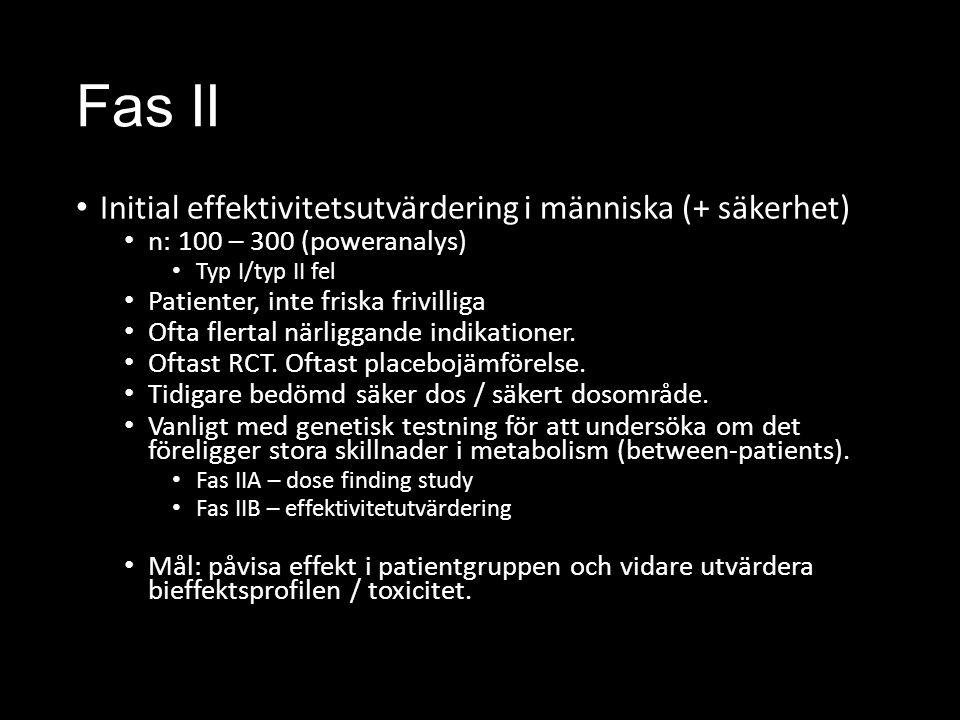 Fas II Initial effektivitetsutvärdering i människa (+ säkerhet)