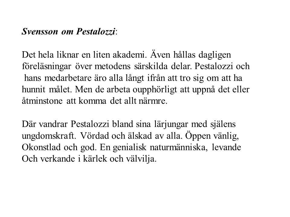 Svensson om Pestalozzi: