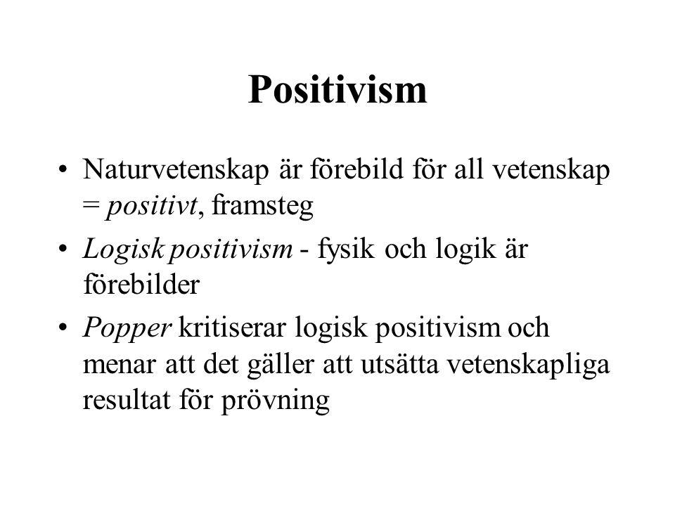 Positivism Naturvetenskap är förebild för all vetenskap = positivt, framsteg. Logisk positivism - fysik och logik är förebilder.