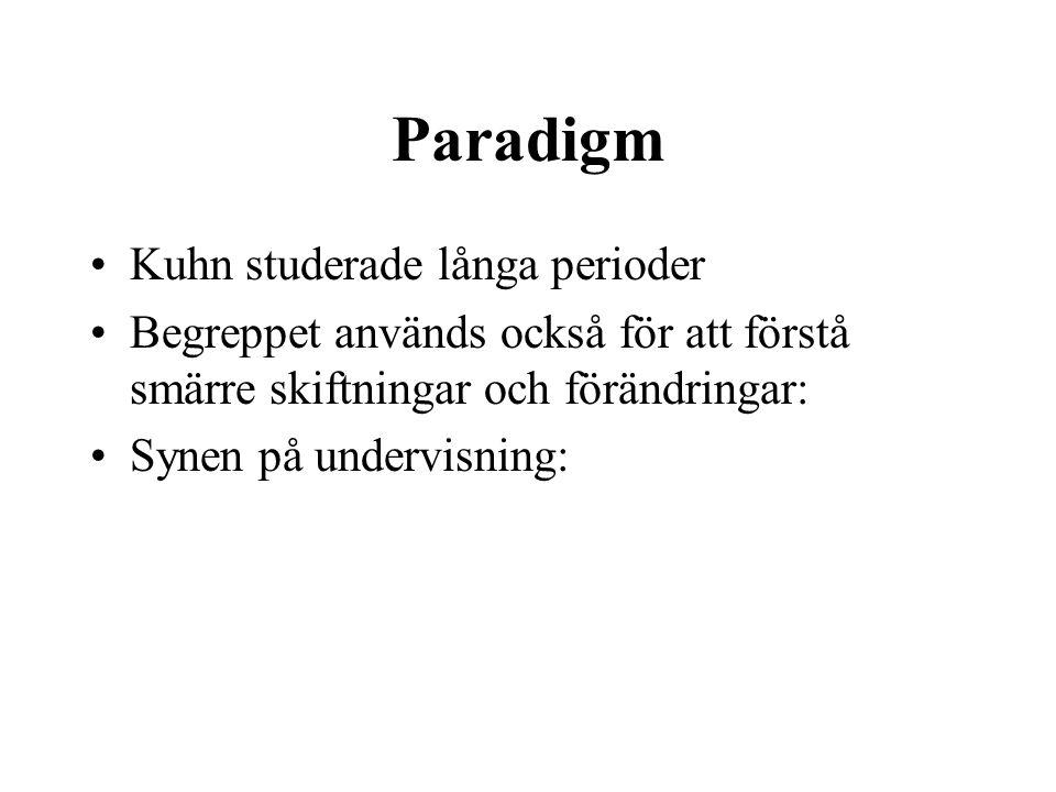 Paradigm Kuhn studerade långa perioder