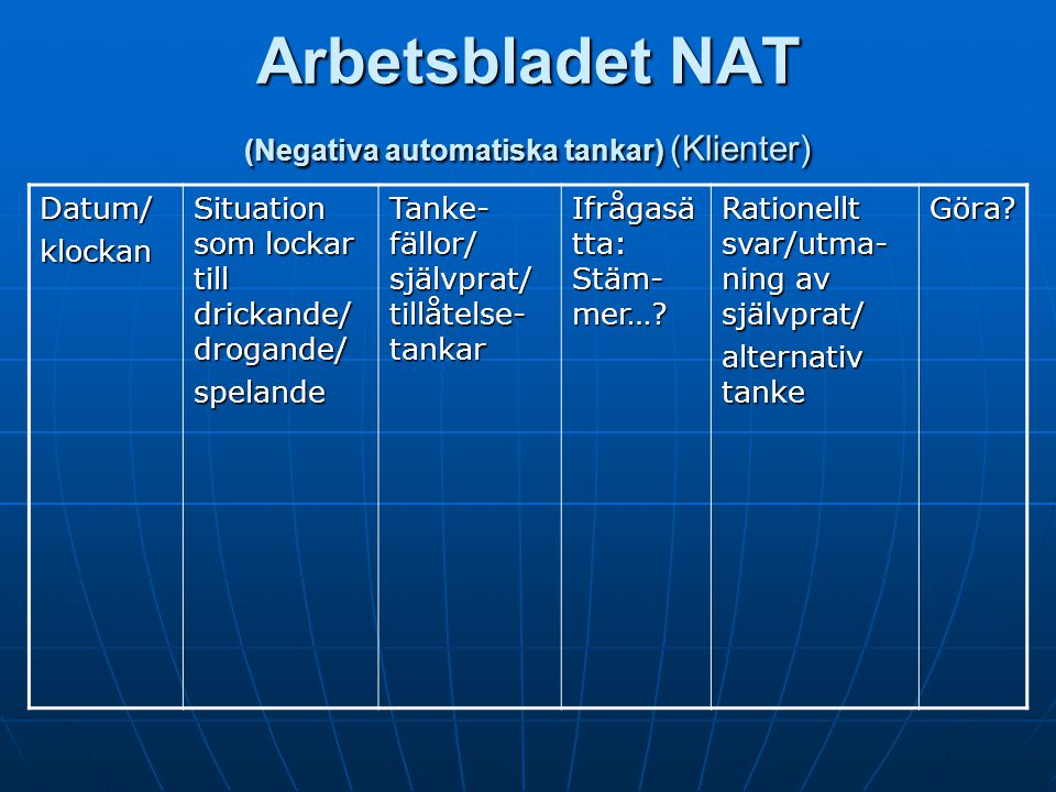 Arbetsbladet NAT (Negativa automatiska tankar) (Klienter)