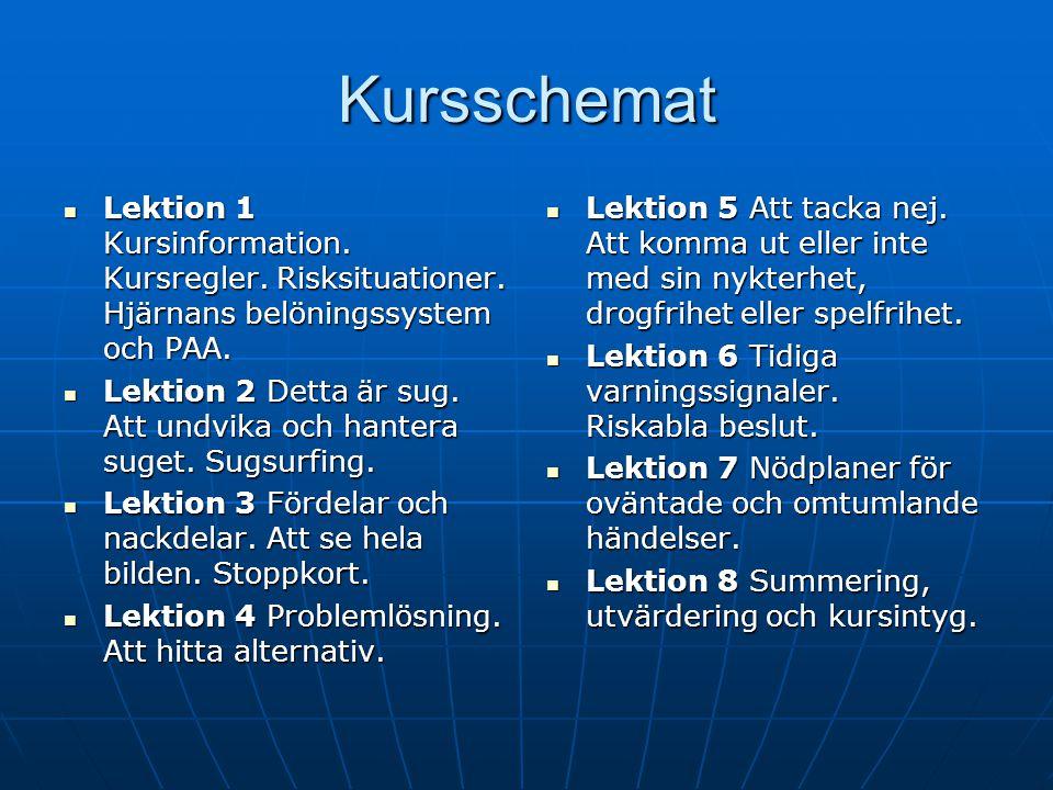 Kursschemat Lektion 1 Kursinformation. Kursregler. Risksituationer. Hjärnans belöningssystem och PAA.