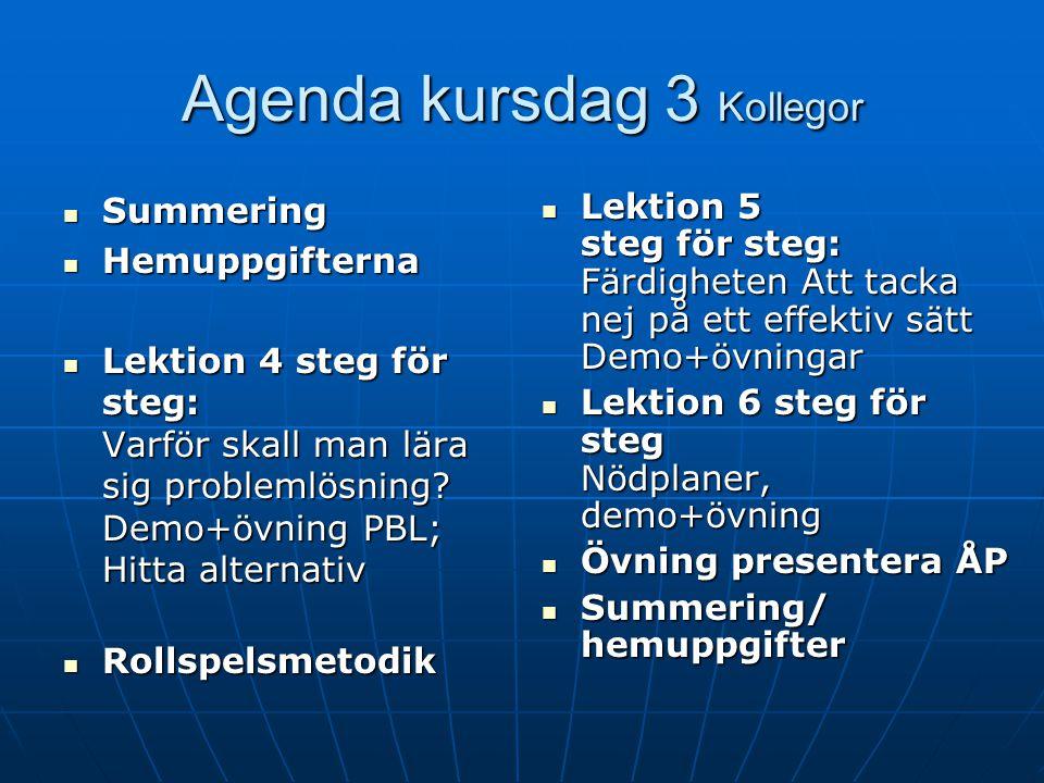 Agenda kursdag 3 Kollegor