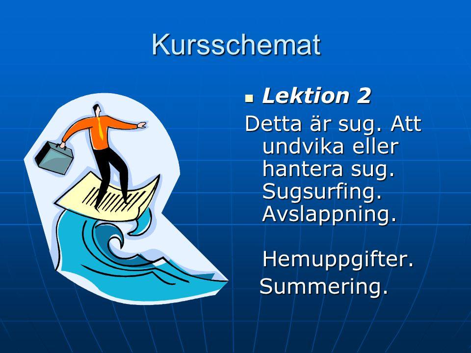 Kursschemat Lektion 2. Detta är sug. Att undvika eller hantera sug. Sugsurfing. Avslappning. Hemuppgifter.