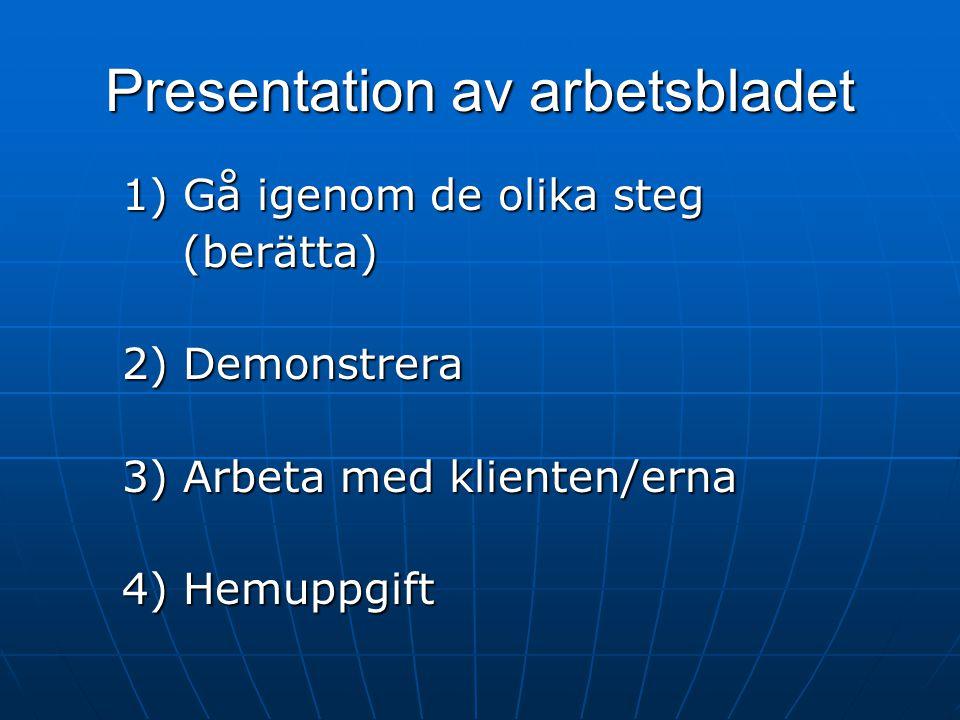 Presentation av arbetsbladet