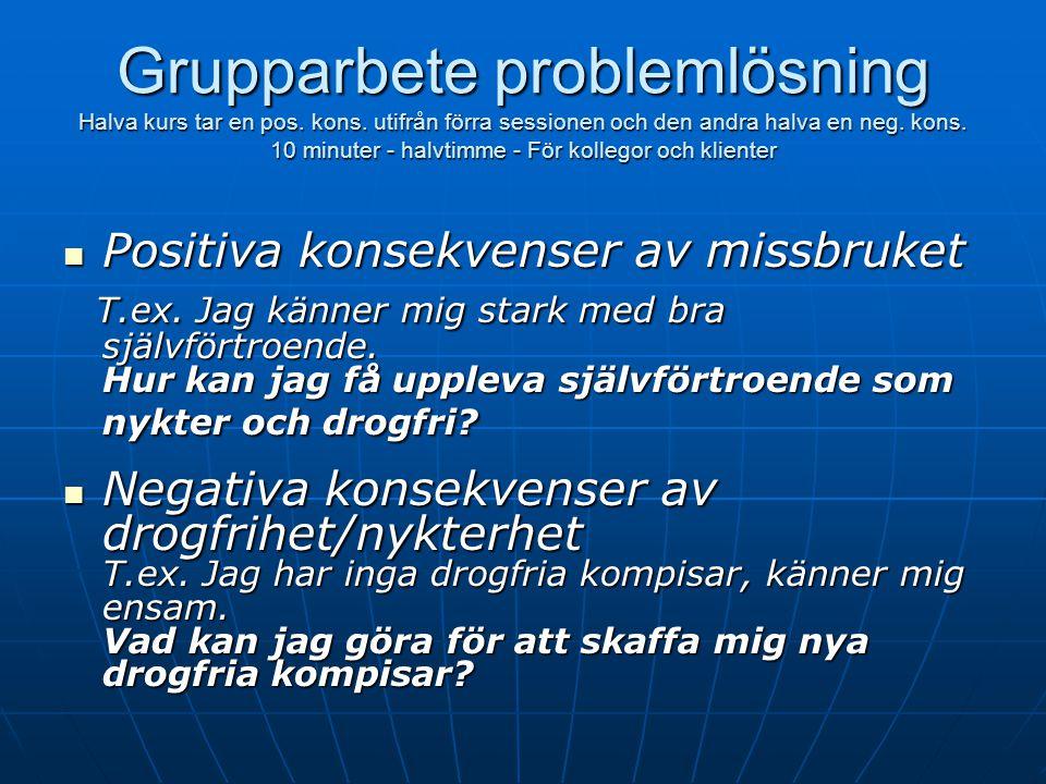 Grupparbete problemlösning Halva kurs tar en pos. kons