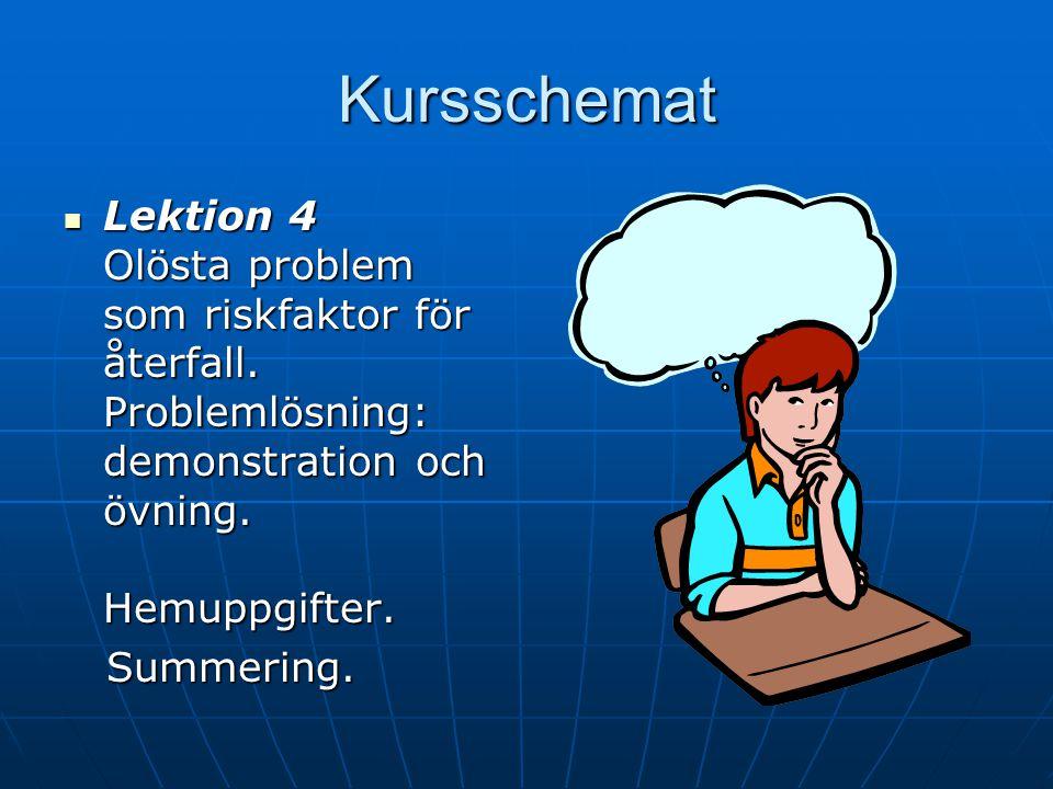Kursschemat Lektion 4 Olösta problem som riskfaktor för återfall. Problemlösning: demonstration och övning. Hemuppgifter.