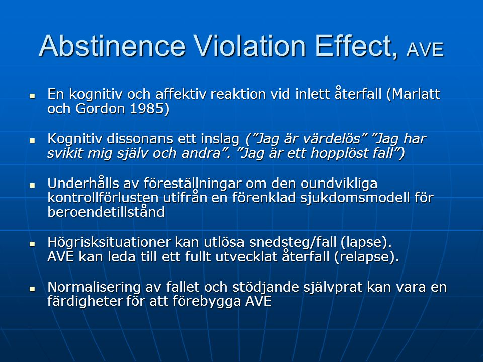 Abstinence Violation Effect, AVE