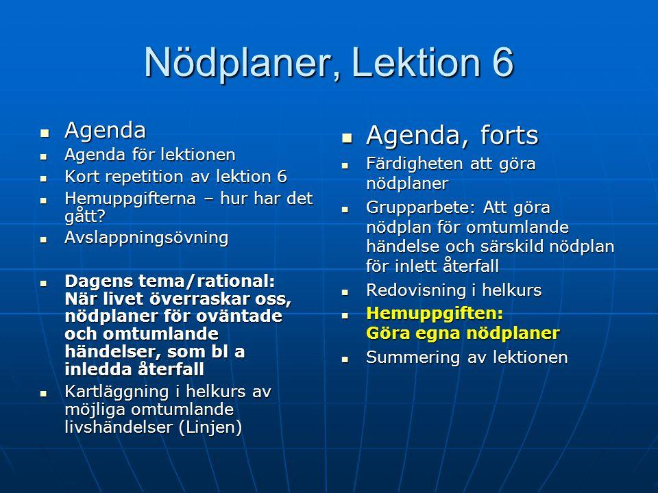 Nödplaner, Lektion 6 Agenda, forts Agenda Agenda för lektionen