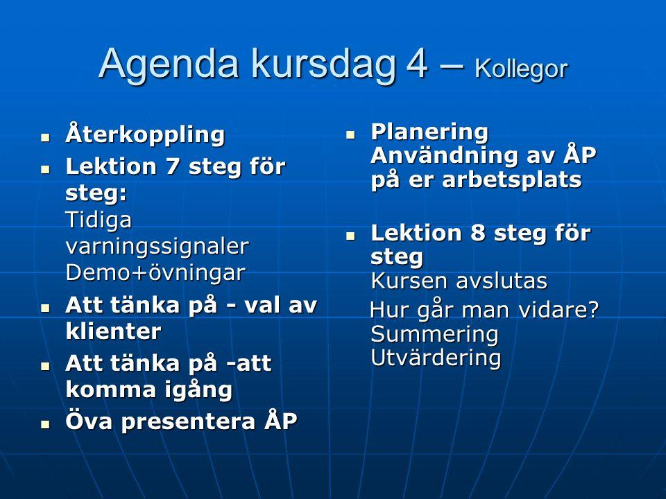 Agenda kursdag 4 – Kollegor