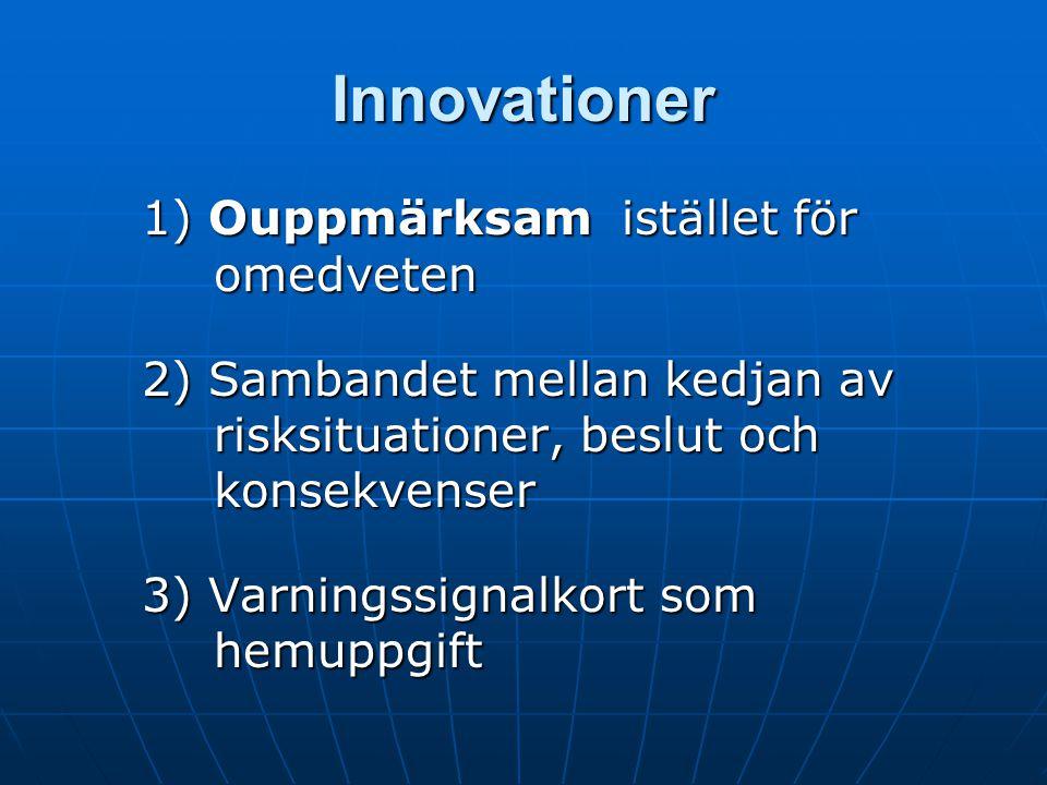 Innovationer 1) Ouppmärksam istället för omedveten