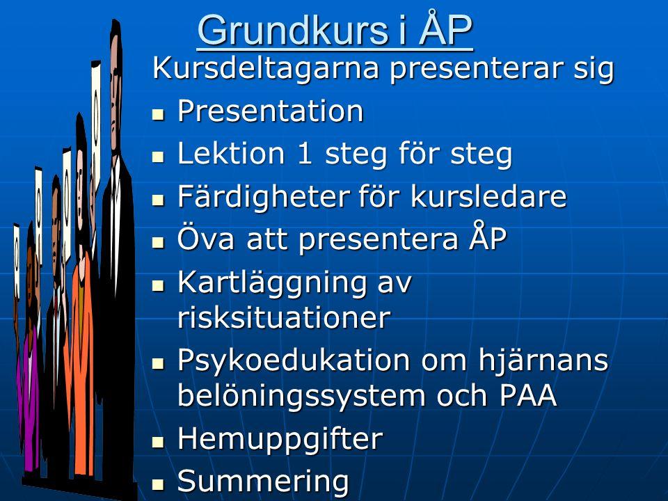 Grundkurs i ÅP Kursdeltagarna presenterar sig Presentation