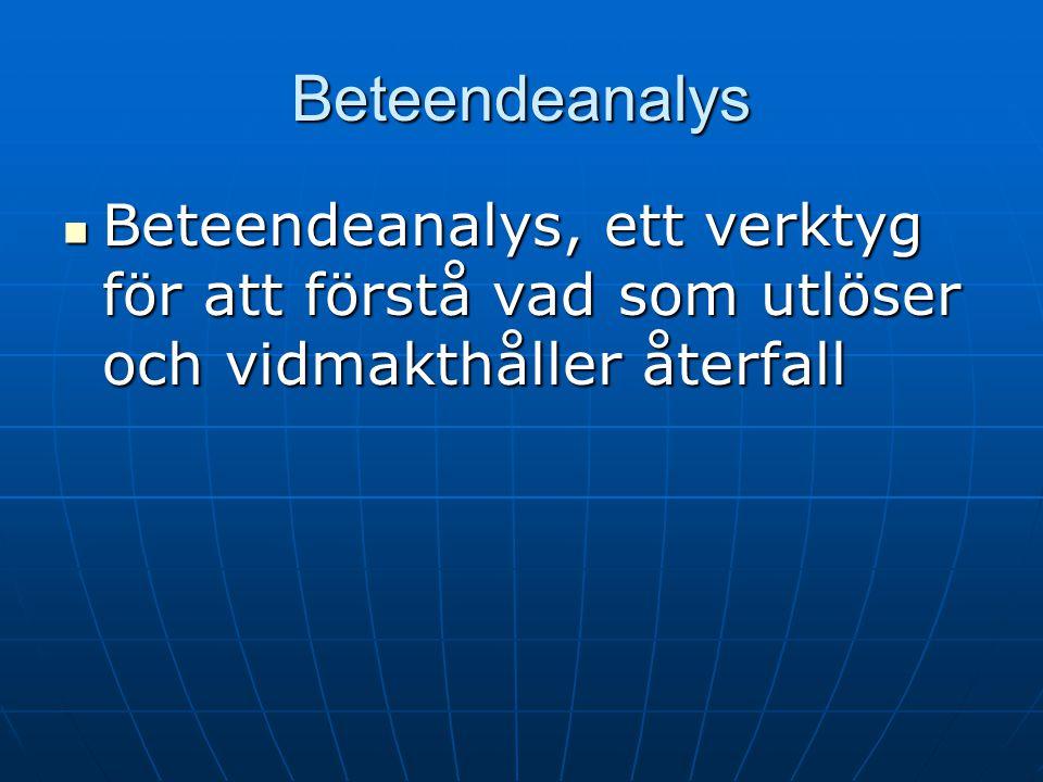 Beteendeanalys Beteendeanalys, ett verktyg för att förstå vad som utlöser och vidmakthåller återfall.