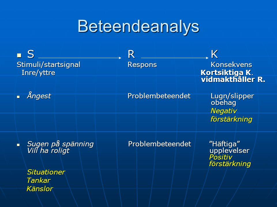 Beteendeanalys S R K Stimuli/startsignal Respons Konsekvens