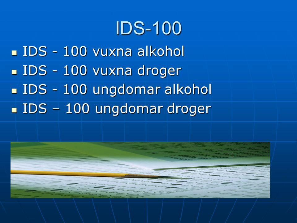 IDS-100 IDS - 100 vuxna alkohol IDS - 100 vuxna droger