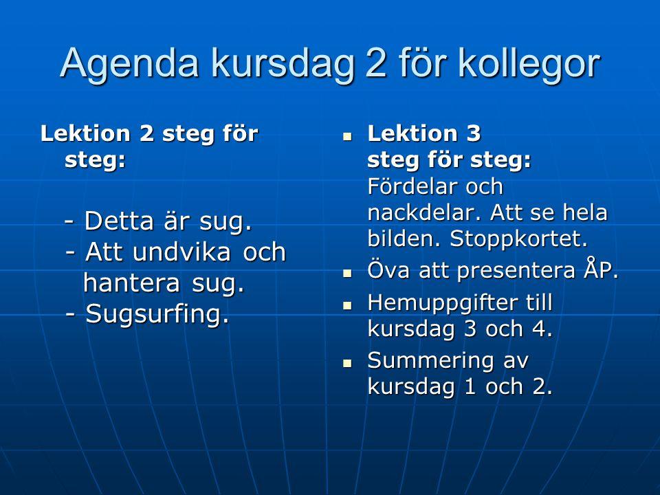 Agenda kursdag 2 för kollegor