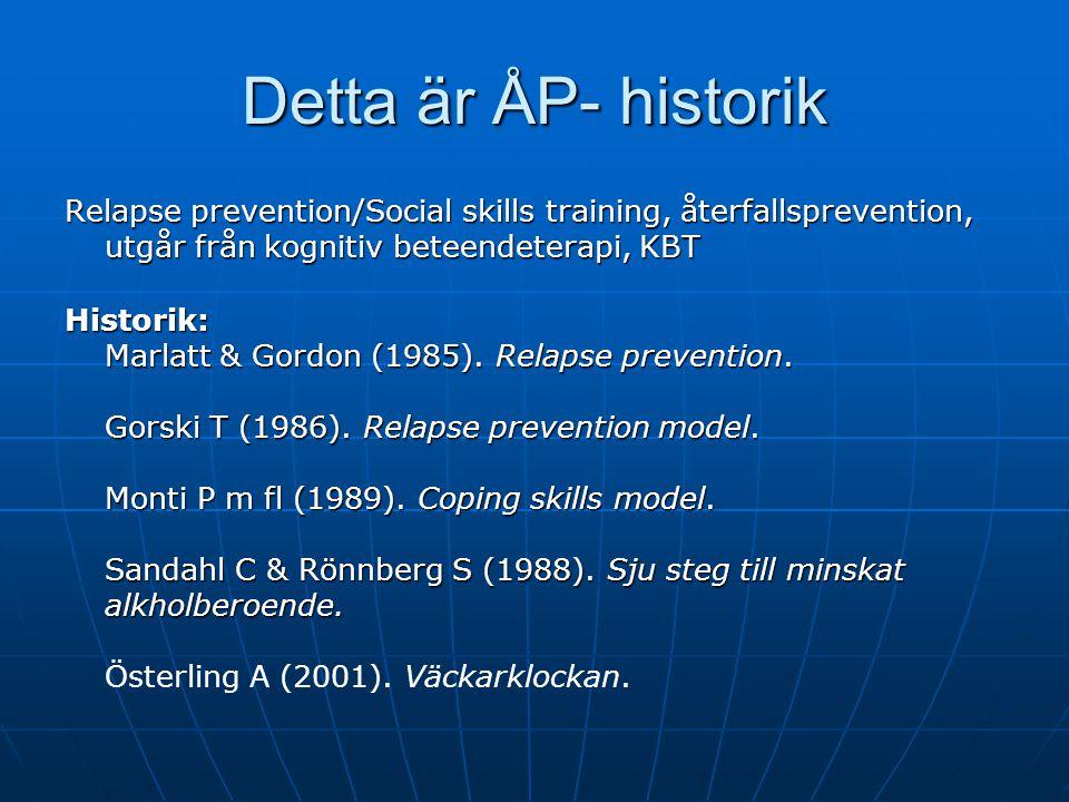 Detta är ÅP- historik Relapse prevention/Social skills training, återfallsprevention, utgår från kognitiv beteendeterapi, KBT.