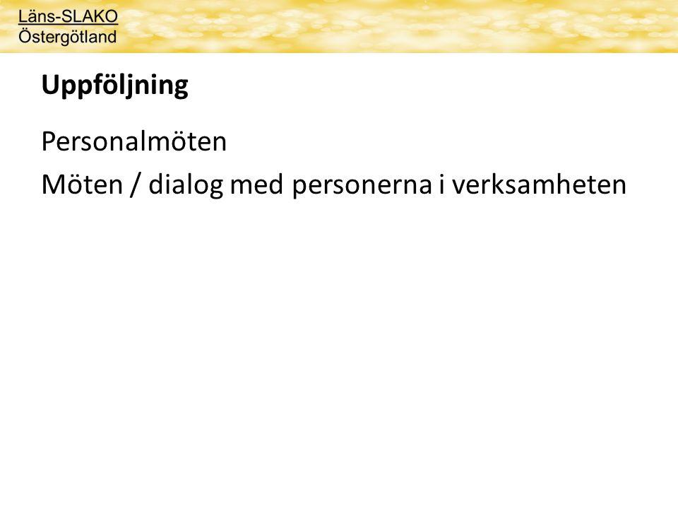 Uppföljning Personalmöten Möten / dialog med personerna i verksamheten