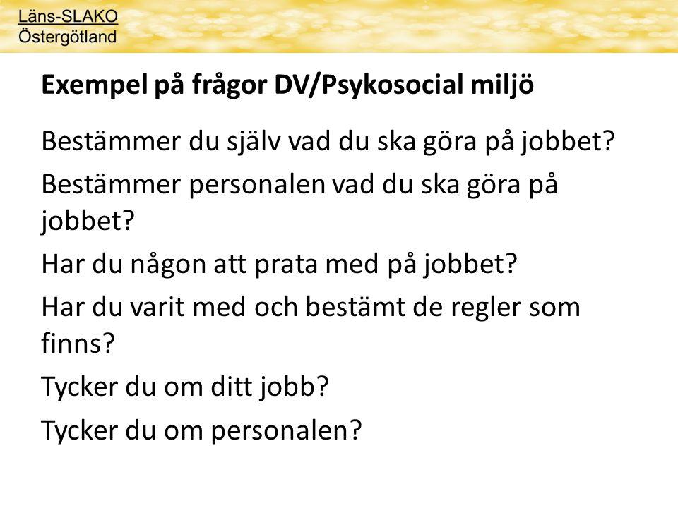 Exempel på frågor DV/Psykosocial miljö