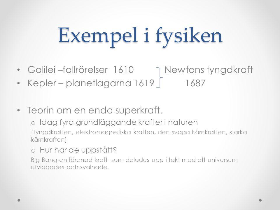 Exempel i fysiken Galilei –fallrörelser 1610 Newtons tyngdkraft