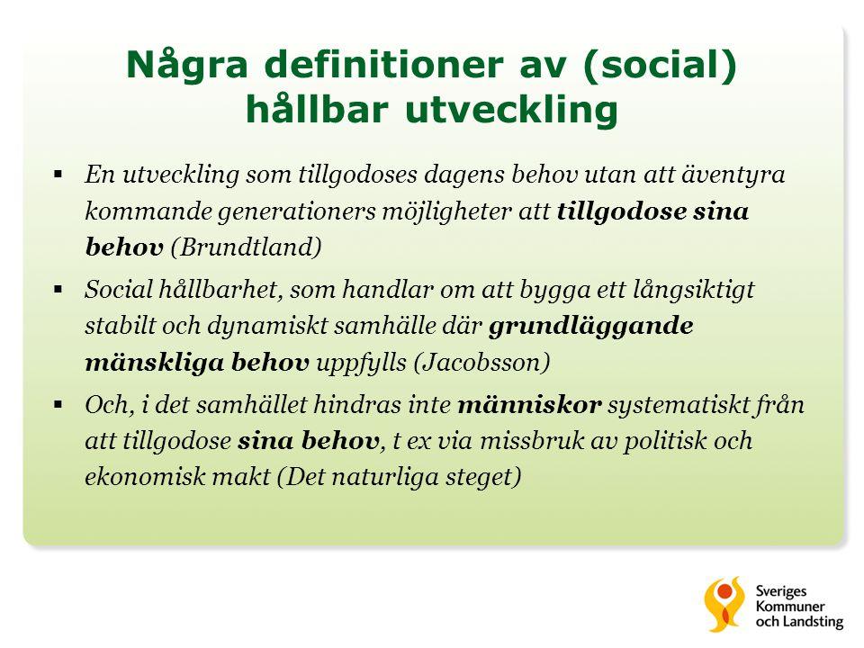 Några definitioner av (social) hållbar utveckling
