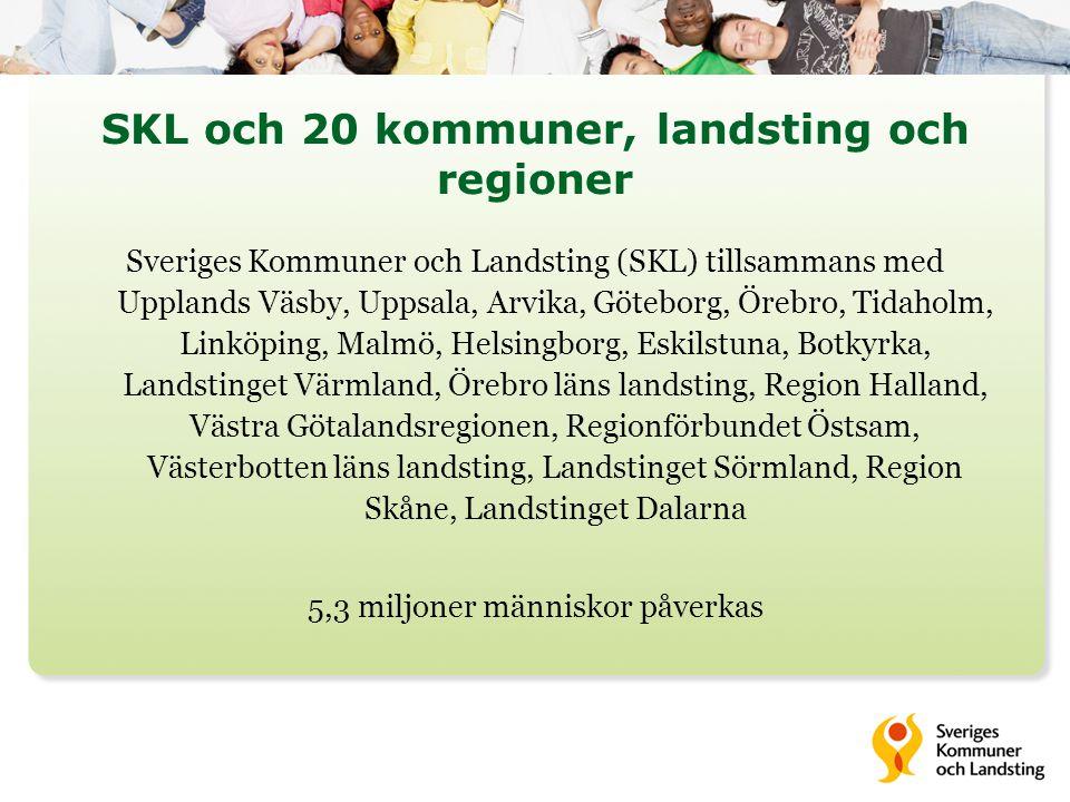 SKL och 20 kommuner, landsting och regioner