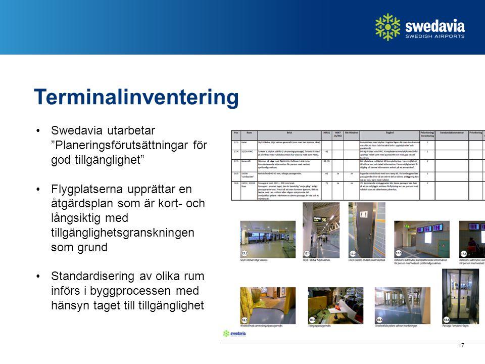 Terminalinventering Swedavia utarbetar Planeringsförutsättningar för god tillgänglighet