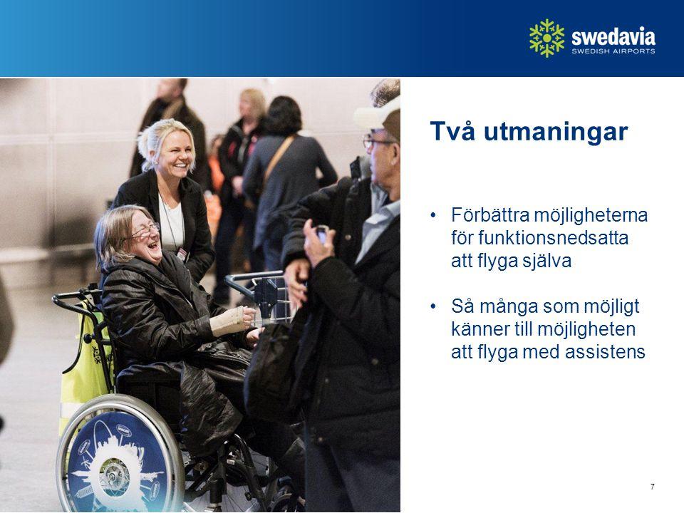Två utmaningar Förbättra möjligheterna för funktionsnedsatta att flyga själva.