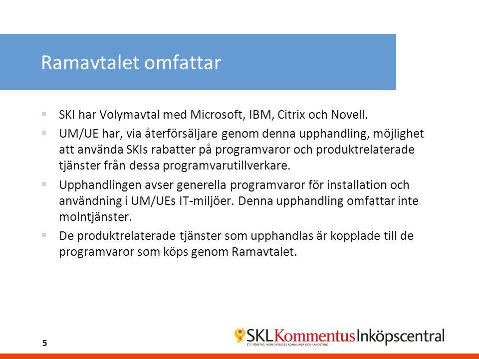 Ramavtalet omfattar SKI har Volymavtal med Microsoft, IBM, Citrix och Novell.