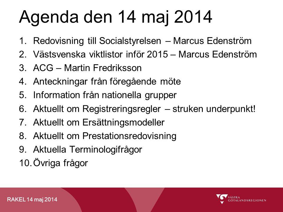 Agenda den 14 maj 2014 Redovisning till Socialstyrelsen – Marcus Edenström. Västsvenska viktlistor inför 2015 – Marcus Edenström.