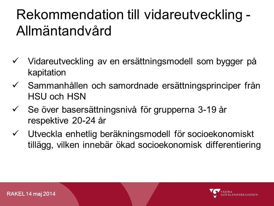 Rekommendation till vidareutveckling - Allmäntandvård