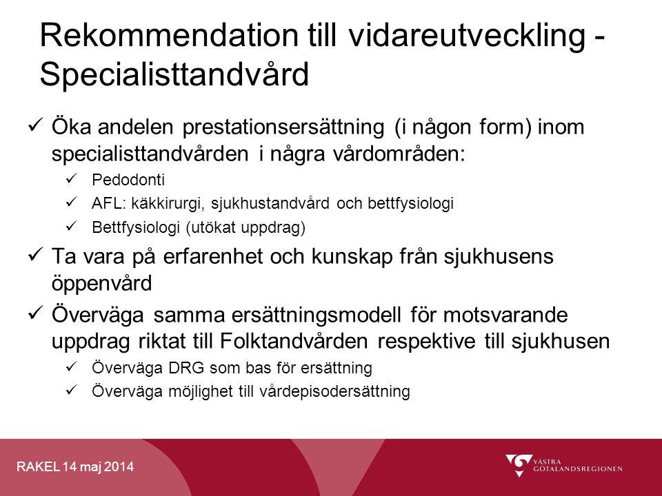 Rekommendation till vidareutveckling - Specialisttandvård