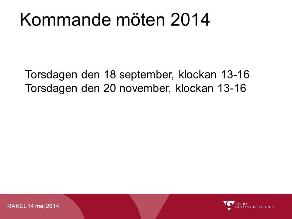 Kommande möten 2014 Torsdagen den 18 september, klockan 13-16