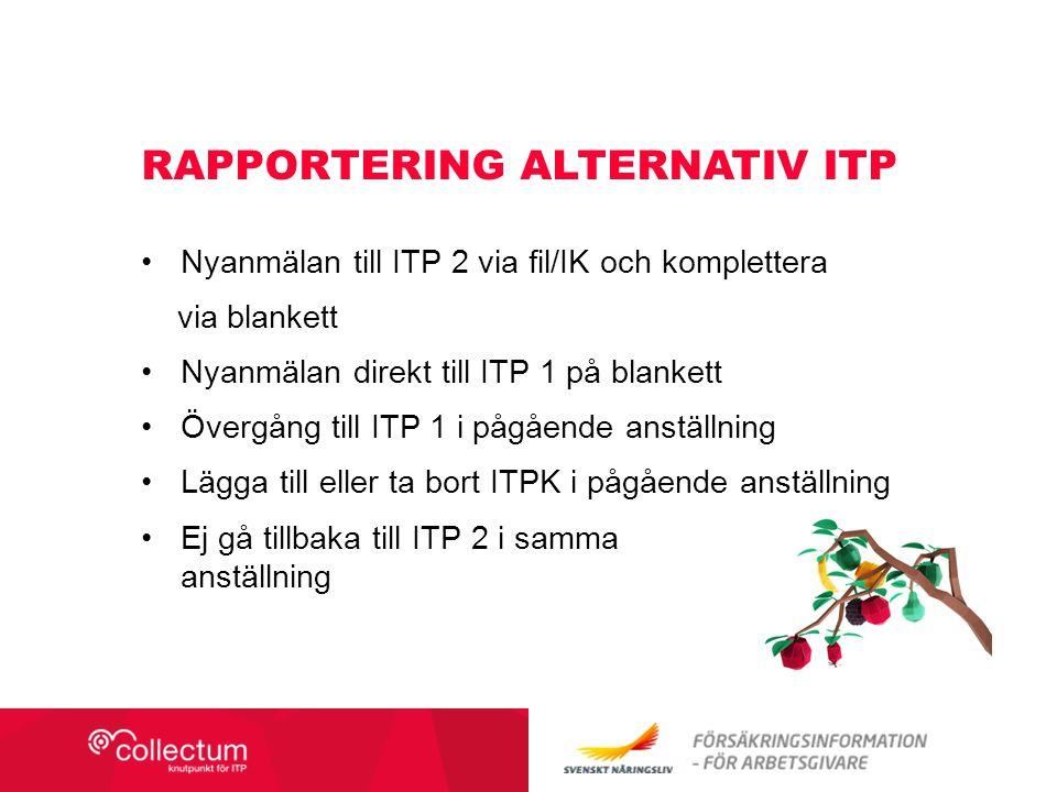 Rapportering alternativ itp