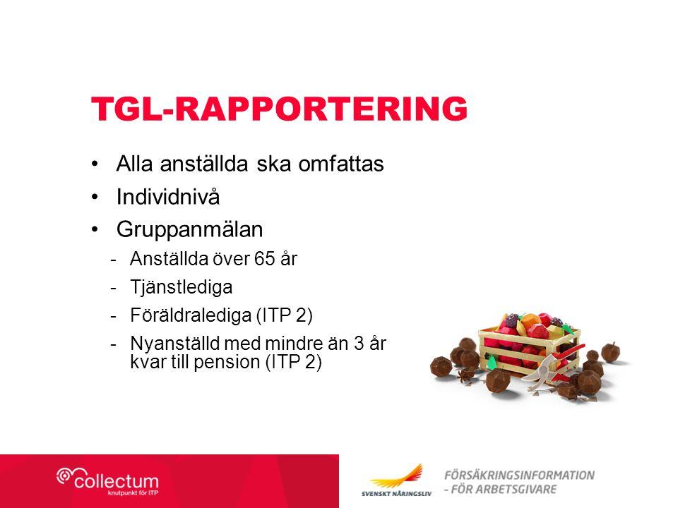 Tgl-rapportering Alla anställda ska omfattas Individnivå Gruppanmälan