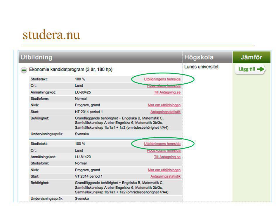 studera.nu på studera.nu gå länken Utbildningens hemsida till vår LUBAS-information