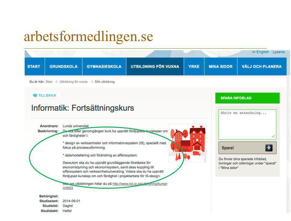 arbetsformedlingen.se Även via arbetsförmedlingen kommer man till en utbildningssajt med lubasinnehåll.