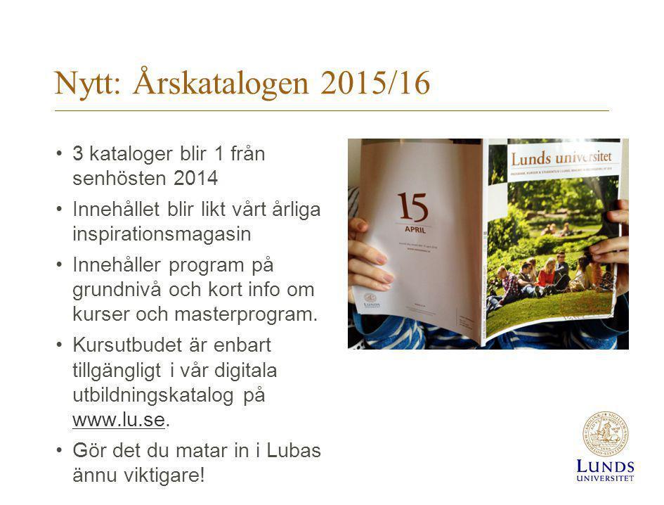 Nytt: Årskatalogen 2015/16 3 kataloger blir 1 från senhösten 2014