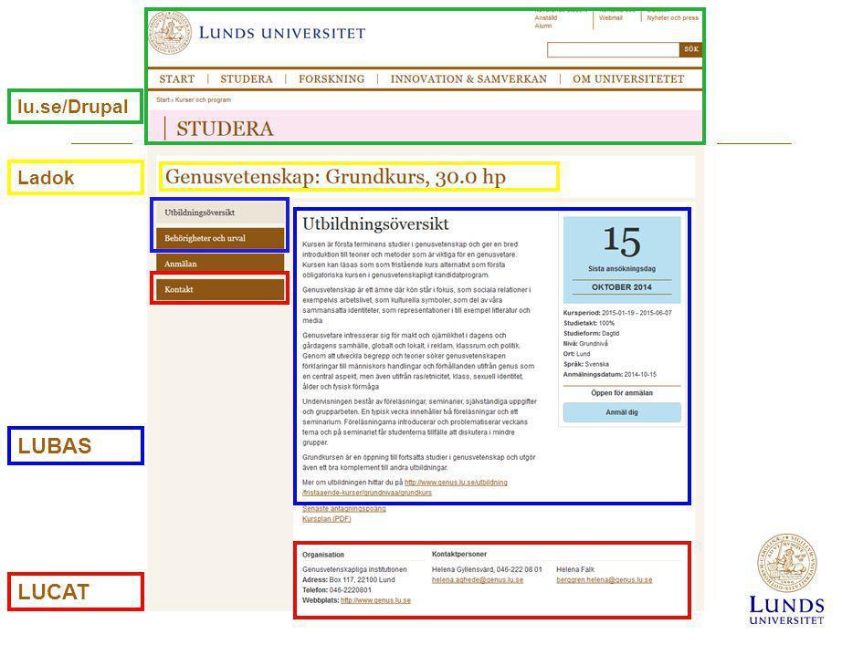 LUBAS LUCAT lu.se/Drupal Ladok
