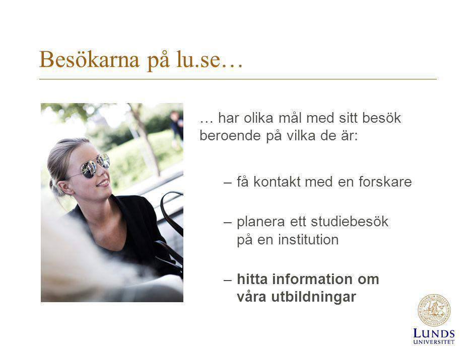 Besökarna på lu.se… … har olika mål med sitt besök beroende på vilka de är: få kontakt med en forskare.