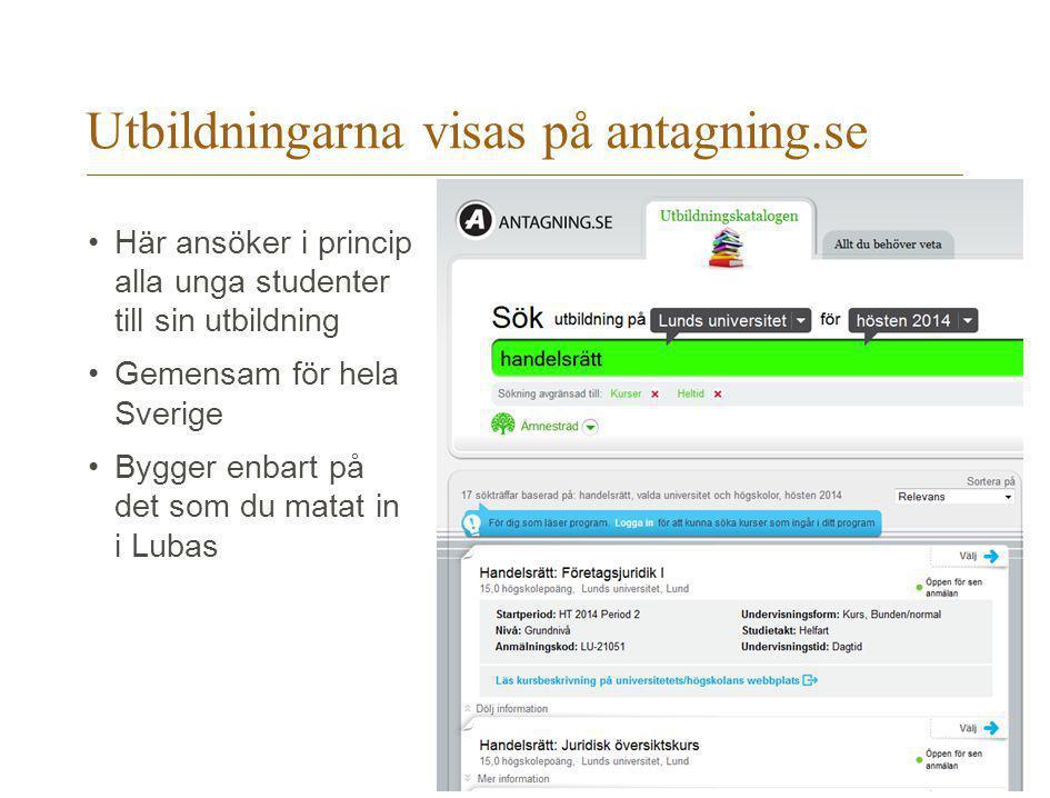 Utbildningarna visas på antagning.se