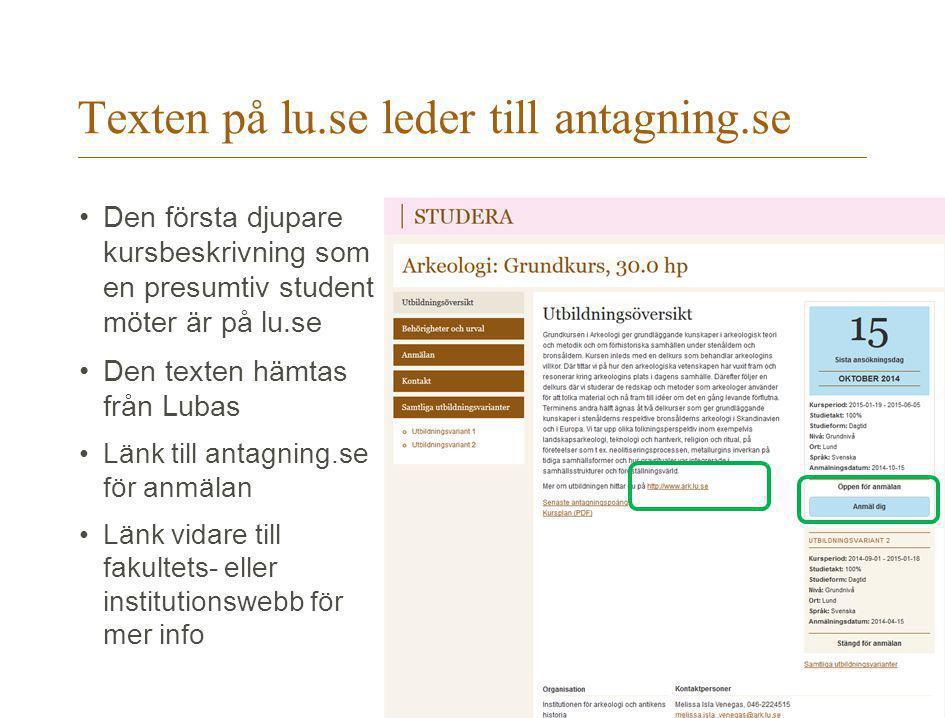 Texten på lu.se leder till antagning.se