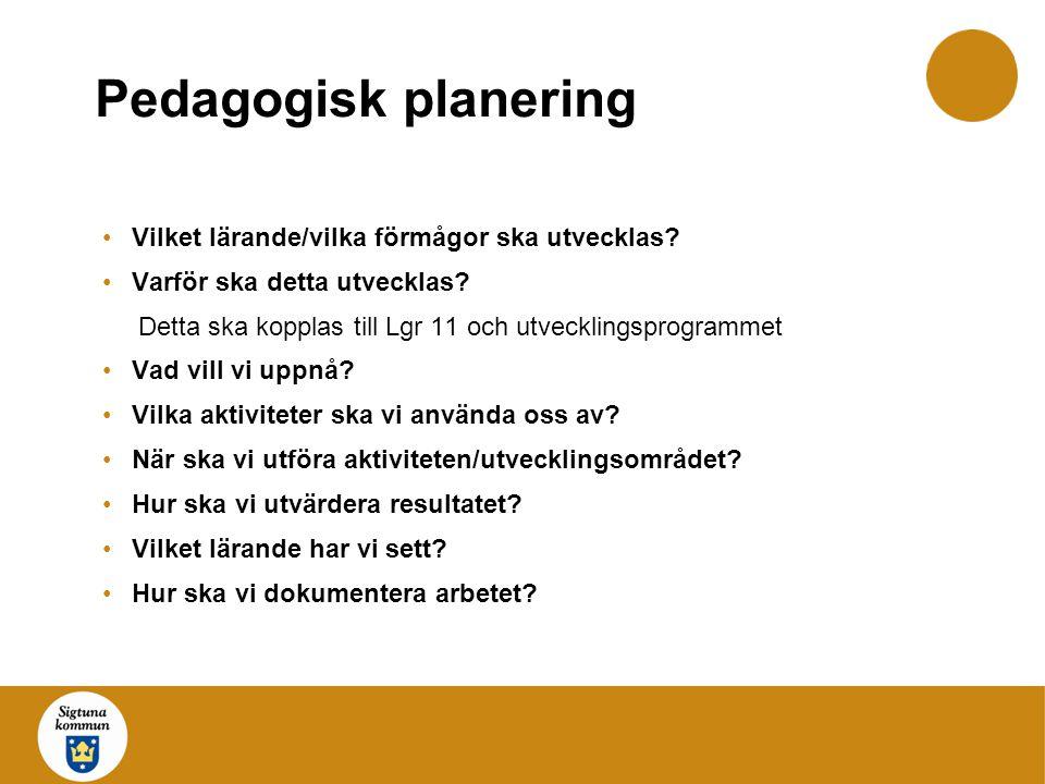 Pedagogisk planering Vilket lärande/vilka förmågor ska utvecklas