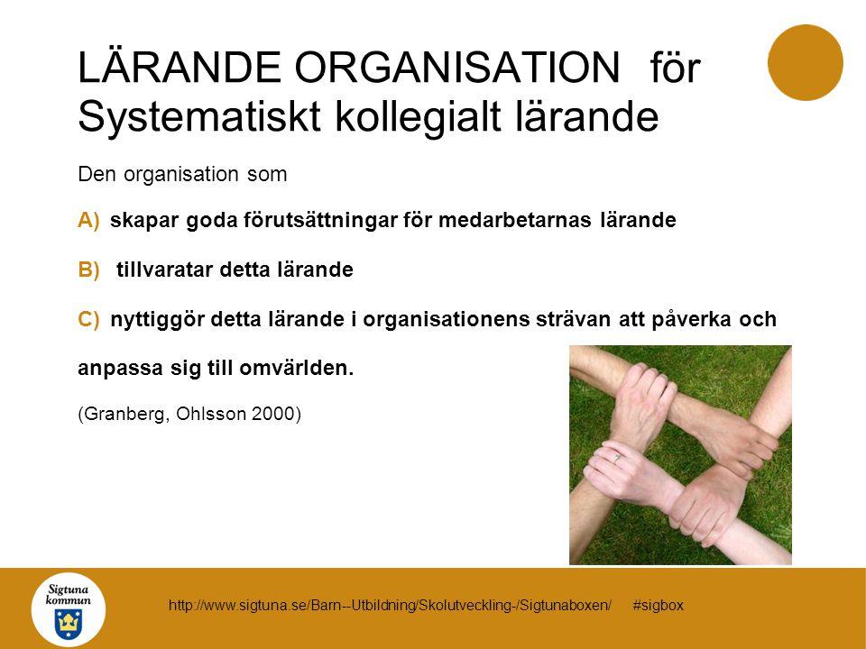 LÄRANDE ORGANISATION för Systematiskt kollegialt lärande