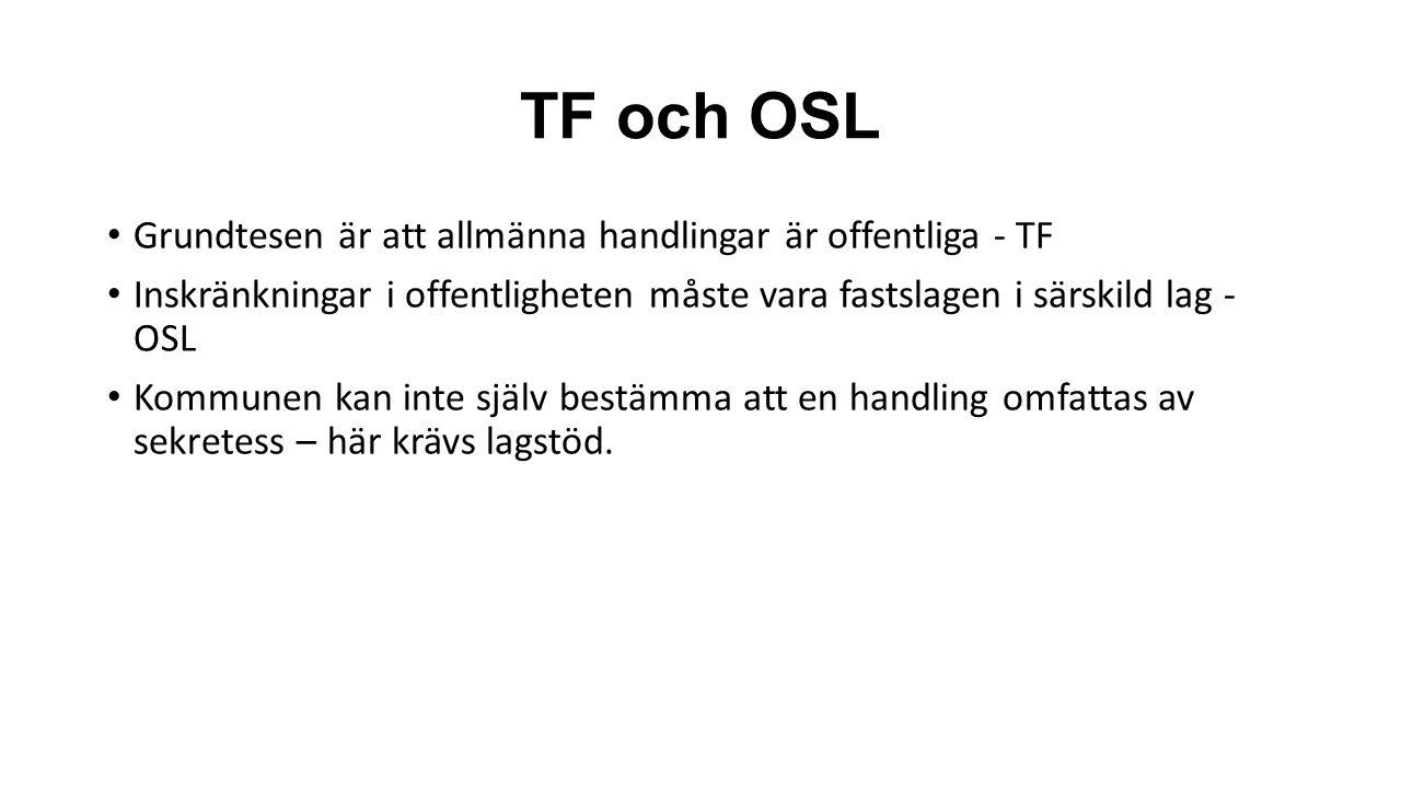 TF och OSL Grundtesen är att allmänna handlingar är offentliga - TF