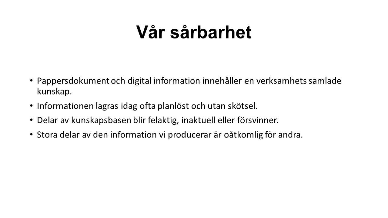 Vår sårbarhet Pappersdokument och digital information innehåller en verksamhets samlade kunskap.