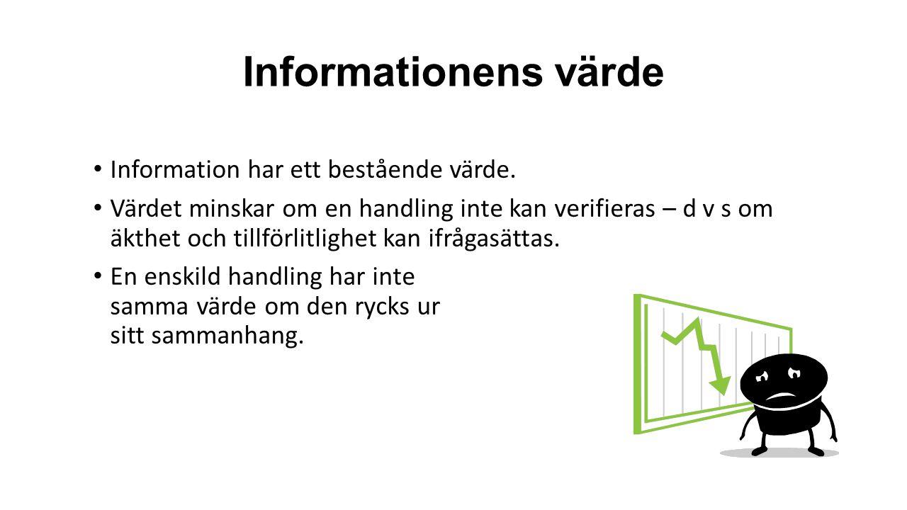 Informationens värde Information har ett bestående värde.