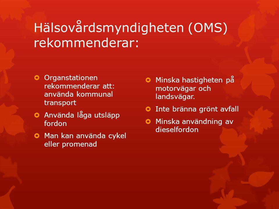 Hälsovårdsmyndigheten (OMS) rekommenderar: