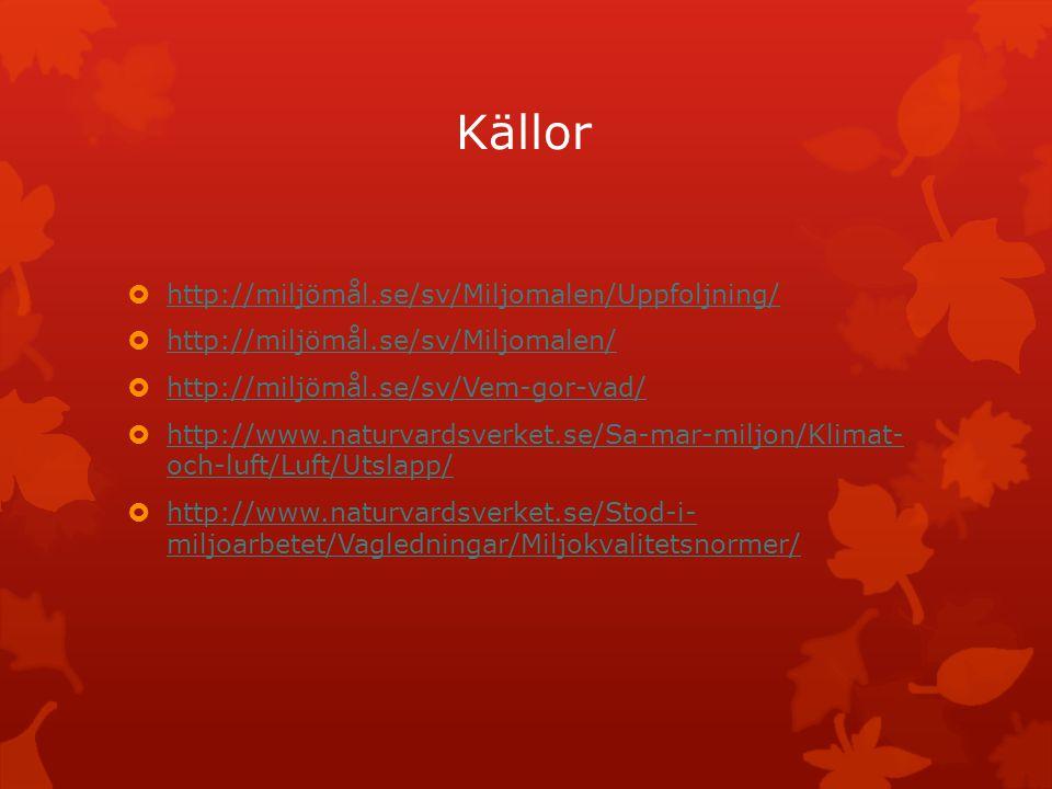 Källor http://miljömål.se/sv/Miljomalen/Uppfoljning/