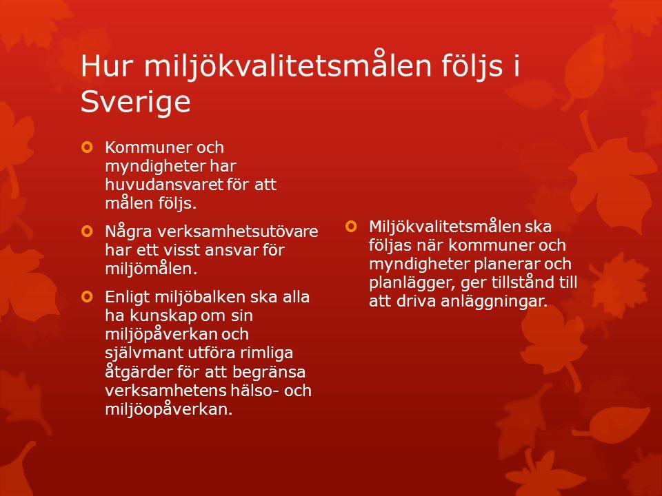 Hur miljökvalitetsmålen följs i Sverige